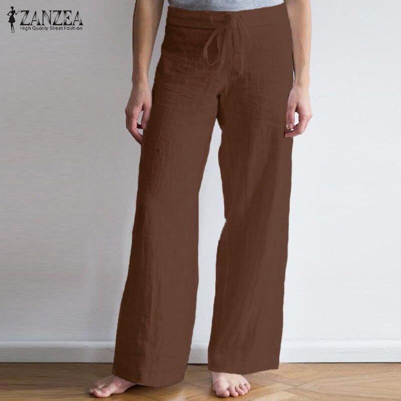 ZANZEA 2019 Women   Wide     Leg     Pants   Ladies Casual Cotton Solid Casual Long Trousers Drawstring Pantalon Femme Palazzo Plus Size