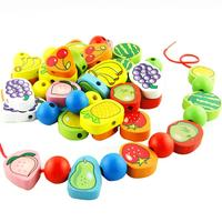 A29 Wooden Toys Stringing Game Child Toy Heart Shaped Beads Mixed Animals Fruit Gift VB827 T15
