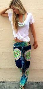 Image 5 - New Arrival kobiety Boho luźna szeroka nogawka spodnie drukuj plaża dorywczo wysokiej talii letnie spodnie plażowe długie spodnie Dropshipping