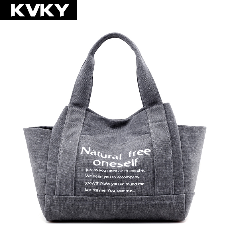 KVKY Brand Vintage Canvas Women Handbags Large Capacity Design Ladies Tote Bag Solid Shoulder Bag Casual Travel Bag Bolsos Mujer forudesigns casual women handbags peacock feather printed shopping bag large capacity ladies handbags vintage bolsa feminina