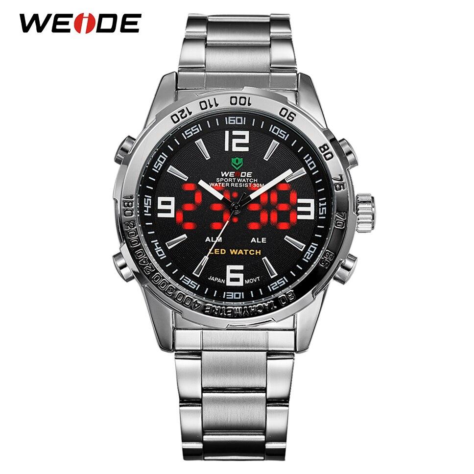WEIDE 2018 hombres relojes deportivos de marca de lujo de cuarzo Digital LED negro reloj de pulsera reloj militar reloj Masculino el viernes negro