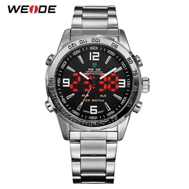 WEIDE 2019 Men's Business Casual Watches Luxury Brand Quartz LED Digital Movemen
