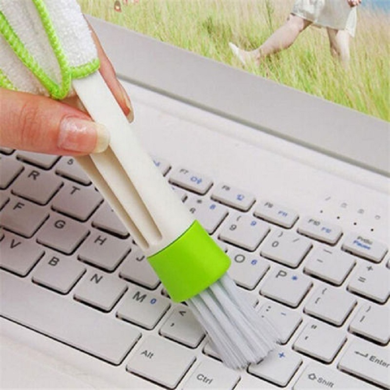 1Pc Double Head Keyboard Dust Collector Computer Clean Tools Window Blinds Cleaner Car Air-condition Brush