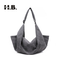 HIBO Fashion Canvas bucket Lady handbag women messenger bags Big Tote Canvas Shoulder Bags Vintage