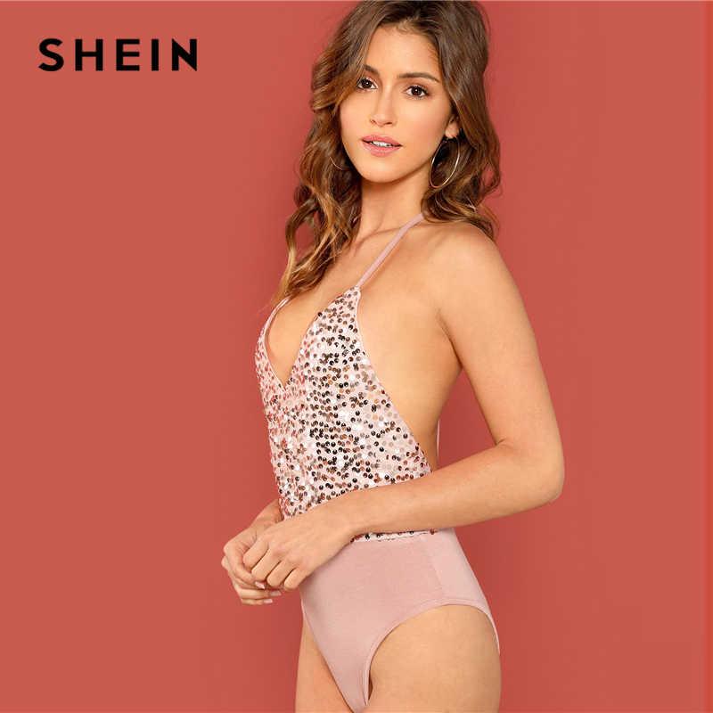 a4986cb6c7 ... SHEIN Night Out Pink Modern Lady Open Back Halter Mid Waist V neck  Sleeveless Bodysuit Women ...