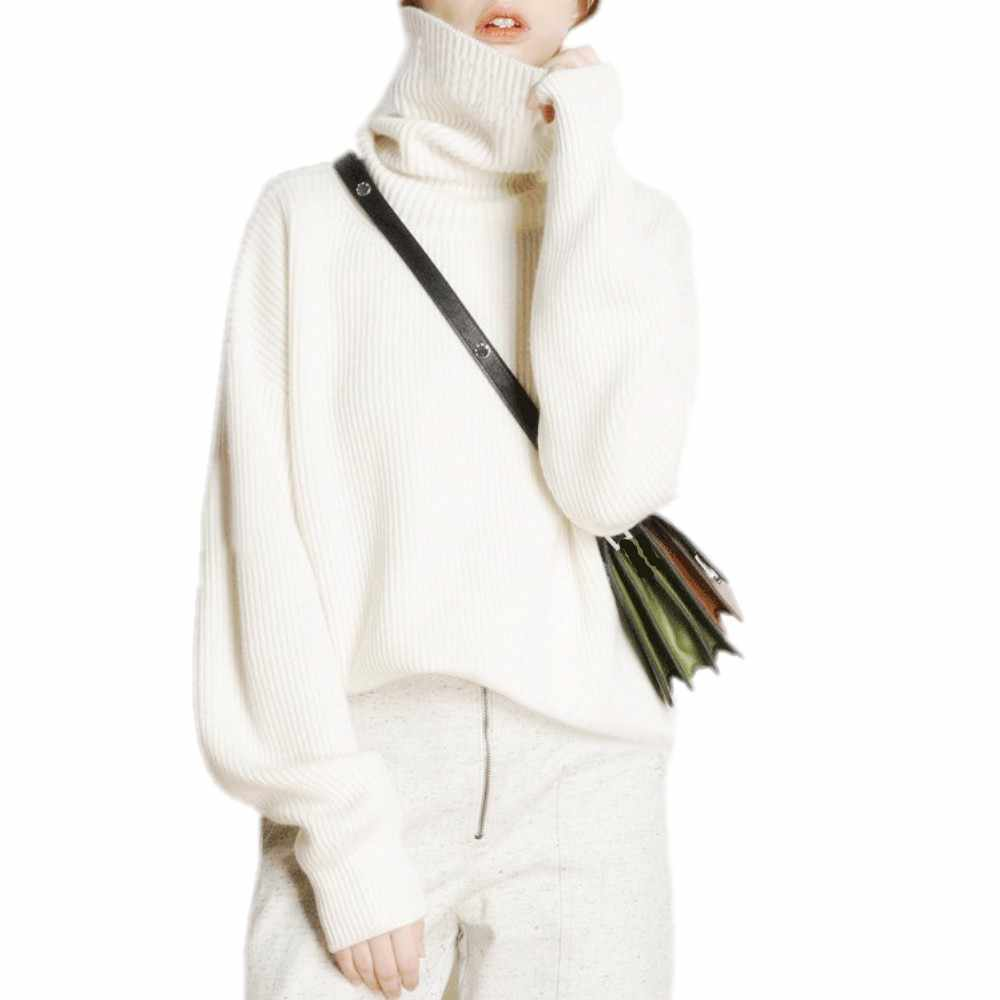재단사 양 겨울 터틀넥 스웨터 여성 느슨한 머리 두꺼운 짧은 캐시미어 스웨터 여성 특대 스웨터