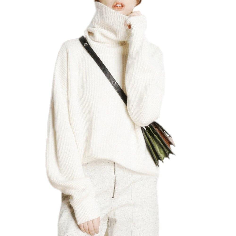 Sastre oveja invierno suéter de cuello alto mujeres suelta cabeza más gruesa suéter corto de Cachemira suéter de gran tamaño para mujer