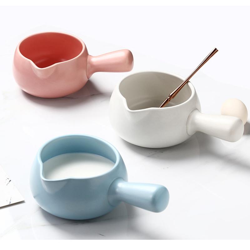 700ML Japanese Ceramic Milk Pot Mini Casserole Stockpot Baby Food Supplement Cookware Single Handle Porridge Soup Pot 9 Colors