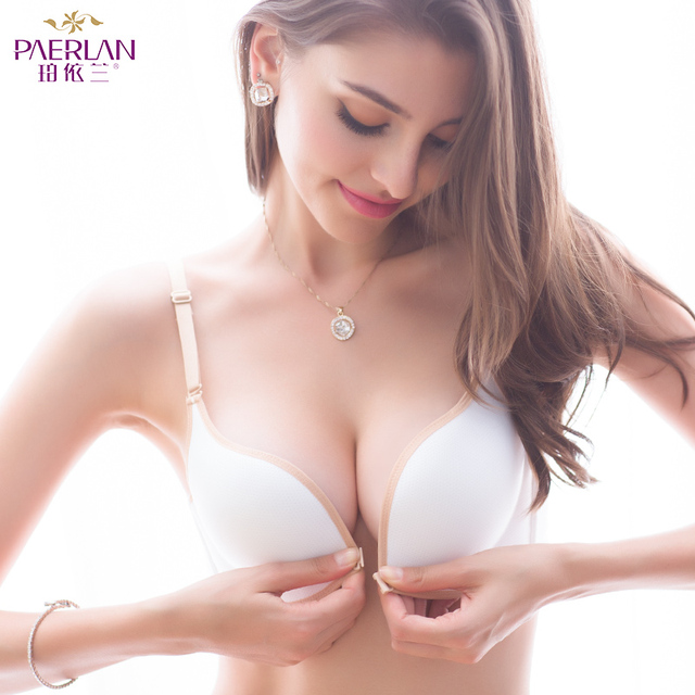 PAERLAN Front Closure Wire Free standing cotton Push Up bra spring Seamless small breasts together Adjusted - white bra straps