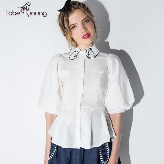 2017 New Lovely Cat Embroidery White Button Down Shirt Women Girl Puff  Short Sleeve Blouses Slim