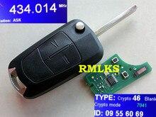 RMLKS Nouvelle Clé À Distance Fob 2 Bouton 433 Mhz PCF7941 Fit Pour Astra H 2004-2009 Astra D 2007-2012 avec HU100 UNCUT LAME