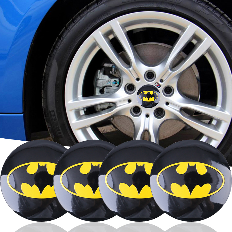 4x 56mm 3D Metal Batman auto logo car styling car stickers Car Tyre Steering Wheel Center Hub Cap Emblem Badge car accessories fr metal car stickers emblem badge for seat leon fr cupra ibiza altea exeo formula racing car accessories car styling