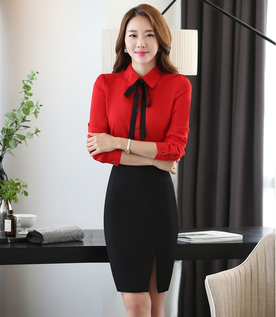 01a79098c Novelty Red Formal Uniform Design Office Work Suits With Tops And ...