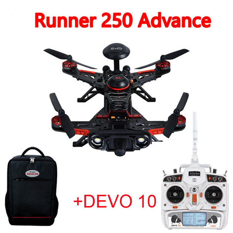 Walkera Runner 250 Advance With DEVO 10 Remote Controller GPS RC Drone Quadcopter + Backpack (800TVL Or 1080P Camera ) RTF walkera runner 250 advance bnf without transmitter gps rc drone quadcopter with battery osd 800tvl camera backpack