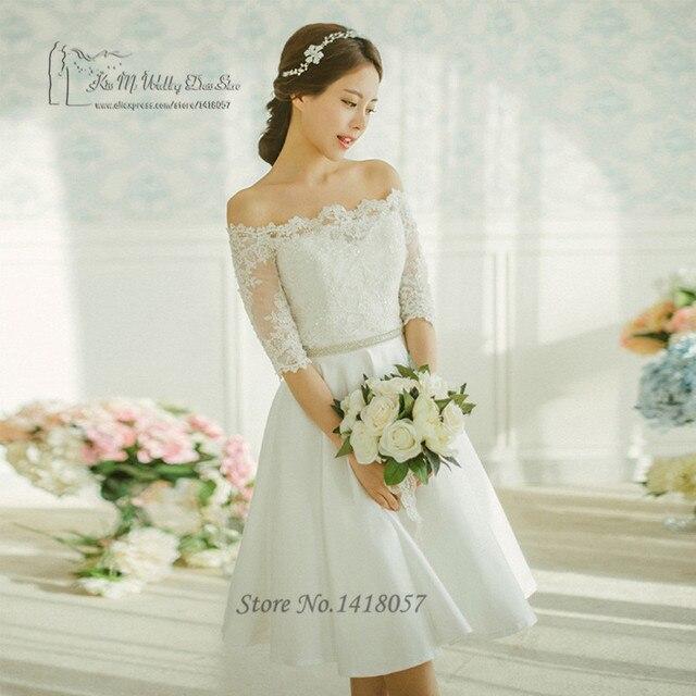 118e71072616 Vintage Krótki Koronkowa Suknia ślubna Vestido De Noiva Curto