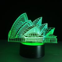 Sydney Opera 3D Optical Illusion LED Table Night Light USB Cable Battery Operated Desk Lamp Halloween