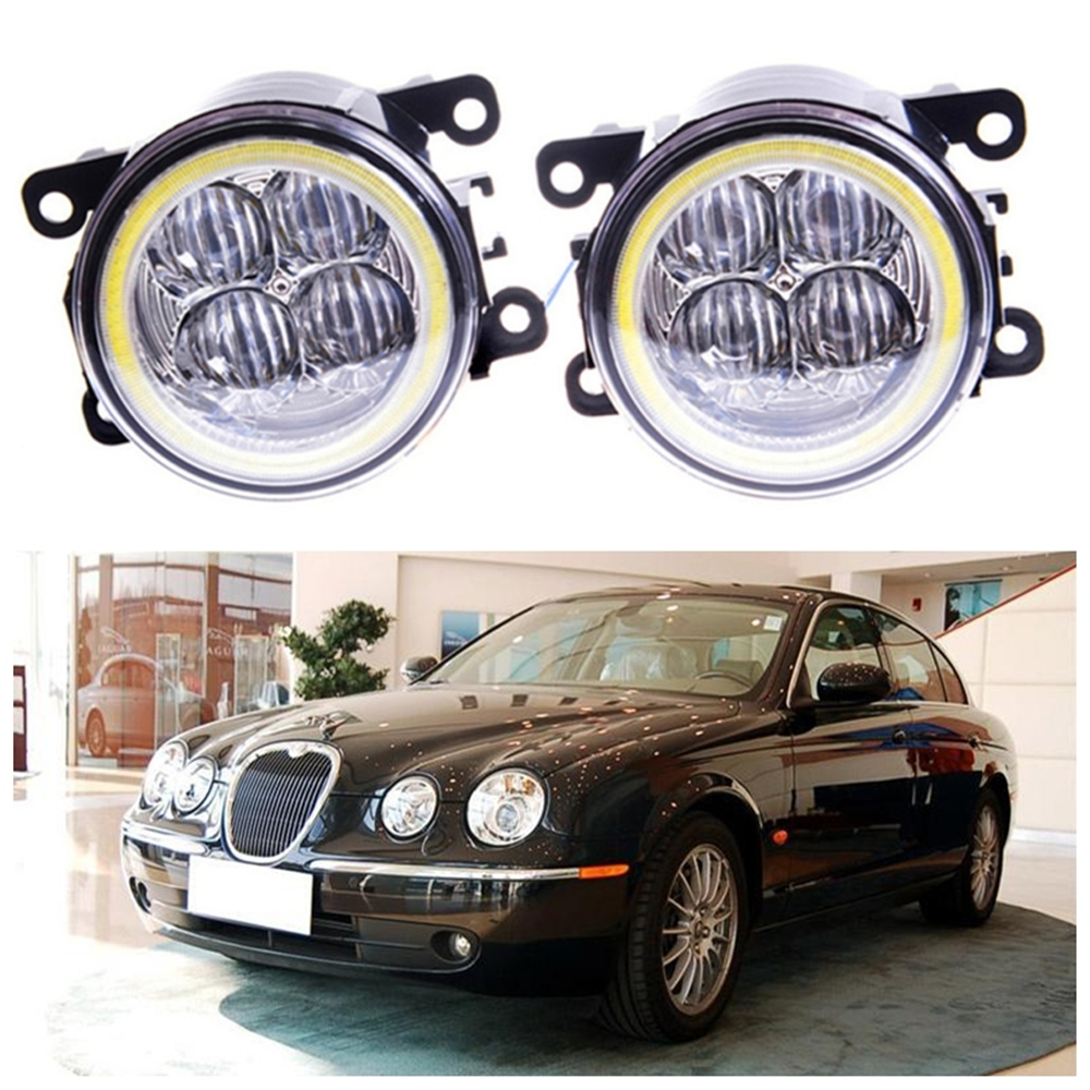 For JAGUAR S-Type CCX Saloon  1999-2008 Angel eye LED fog lamp 9CM daytime running light Spotlight DRL OCB lens for jaguar s type 1999 2008 led lamps fog light lights car styling 1 set