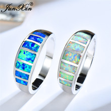 Boho Female Blue White Fire Opal Stone Ring Vintage silver color Wedding Rings Promise Love Engagement Rings For Women