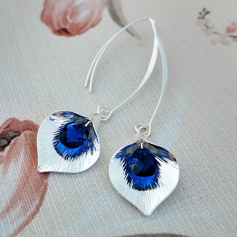 Exquisite 925 Sterling Silver Natural Gem Stone Blue Sapphires Blue Crystal <font><b>Dangle</b></font> <font><b>Earrings</b></font> Women Party Anniversary Fine Jewelry image
