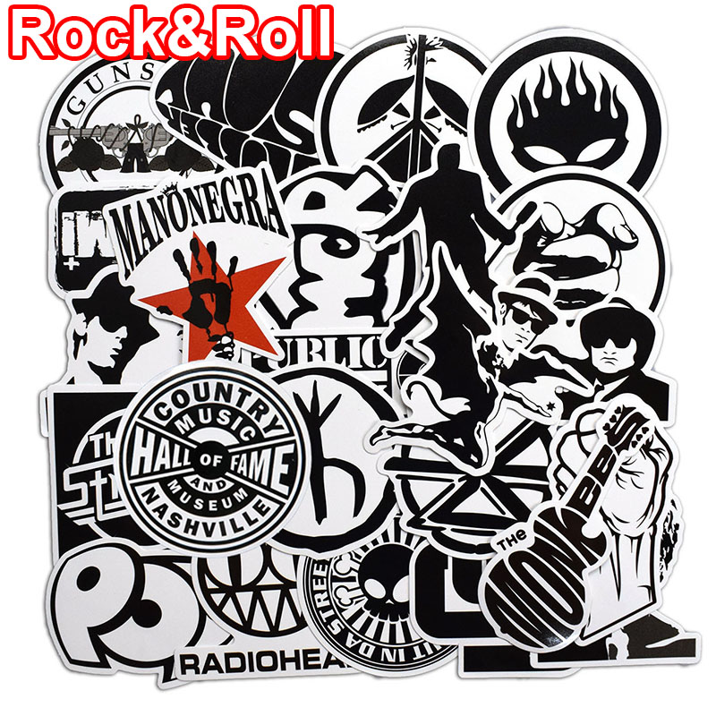 50 Pcs Rock & Roll Black and White Stickers for Laptop Skateboard Luggage Guitar Suitcase Music Punk Graffiti PVC Sticker Pack musiclily 3ply pvc outline pickguard for fenderstrat st guitar custom