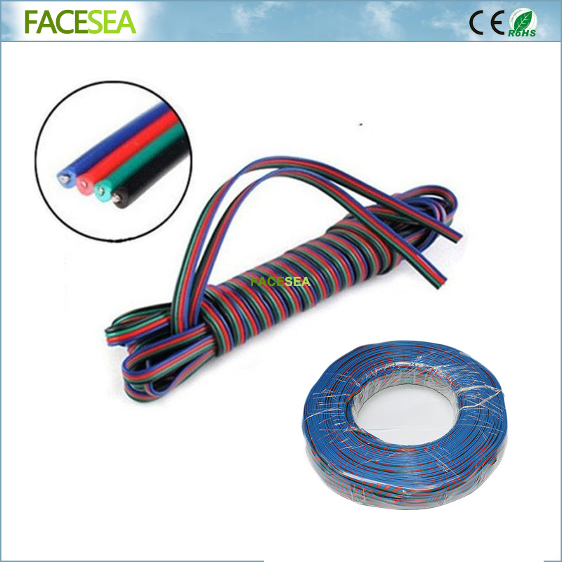 20M 50M 4pin LED Extension Cable Wire 4 colors Blue/Red/Green/Black Wire Cord for DC12V SMD 5050 3528 RGB led Strip Lights 22AWG zinuo 4pin channels led rgb cable wire 5m 10m 15m 20m 30m for 5050 3528 strip light extension extend wire cord connector