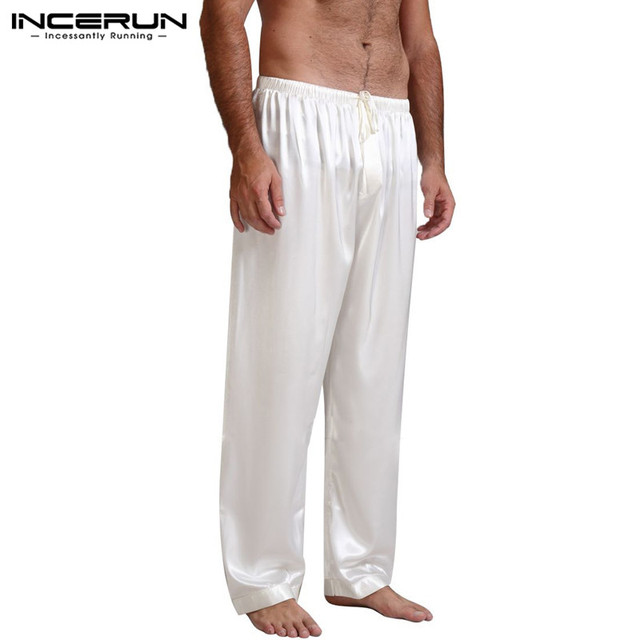 INCERUN Hot Sale Men's Silk Satin Pajamas Lounge Pants Loose Sleep Bottoms Pyjamas Casual Lantern Pants 2018 Plus Size S-3XL