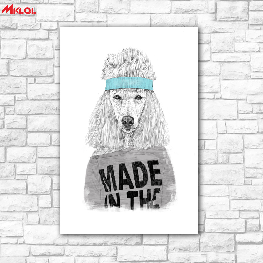 Large Wall Art,Poodle,Restaurant study Bedroom Decor Wall oil Painting Print Nice wall picture for living room no frame concise  80s wall art   Amazing Wall Art Made From '80s Cassettes and Wire Nuts Large font b Wall b font font b Art b font Poodle Restaurant study Bedroom Decor