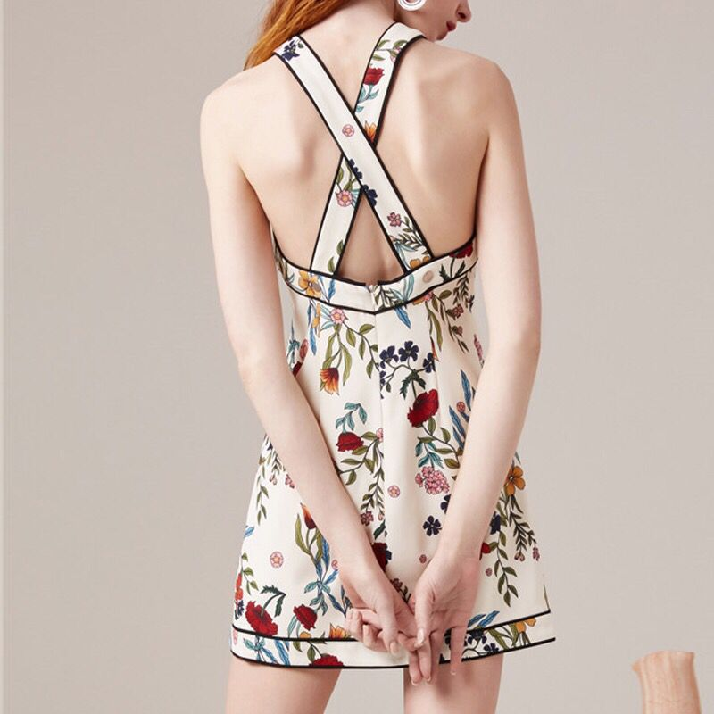 New Runway Women s Designer Mini Dress Sexy Strap Hollow Out Back 2018 Summer Printed Female