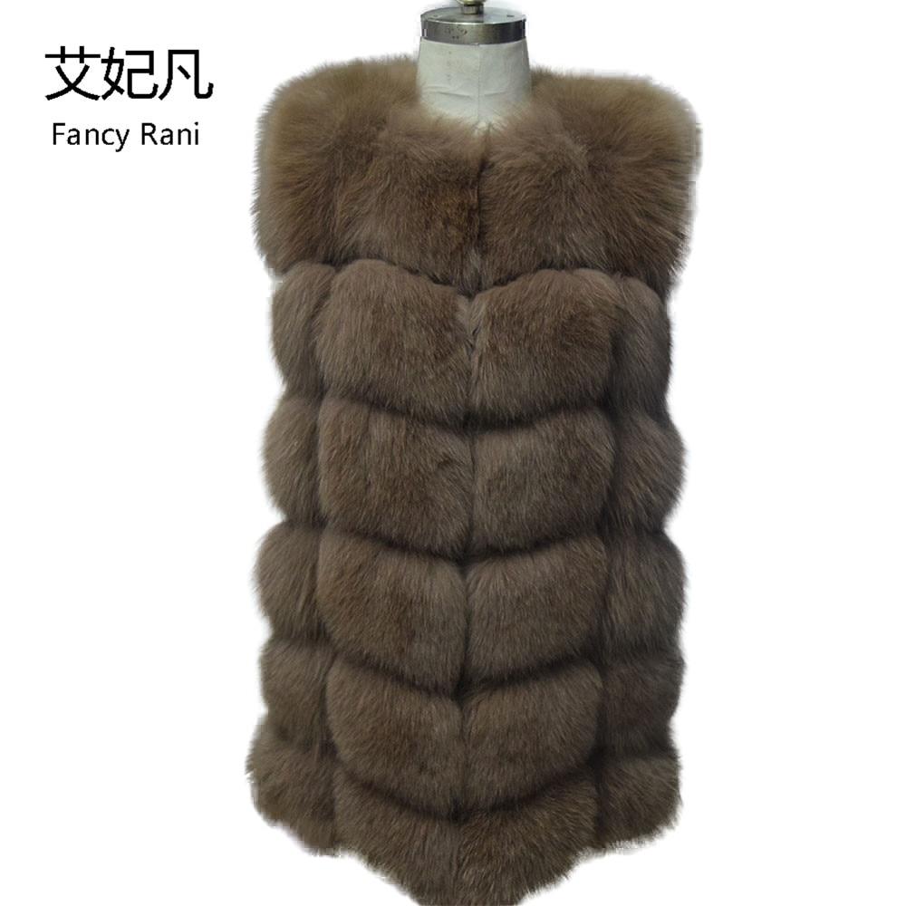 Real Fox Fur Vests Women 2018 New Fashion Genuine Fox Fur Coat Gilet Long Jacket Winter Russian Real Natural Fox Fur Coats Vest(China)