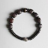 Ethnic Natural Dark Sander Wood With Om Mani Padme Hum Charm Bracelet Unisex Tibetan Buddhist Handmade