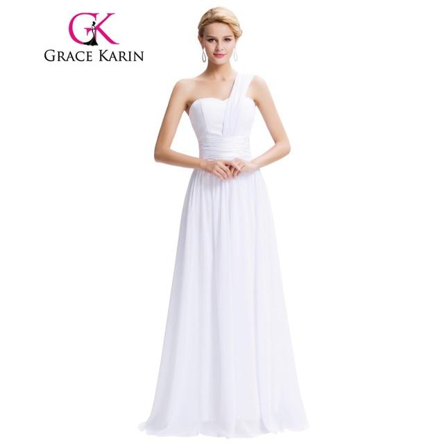 One Shoulder Long White Dresses