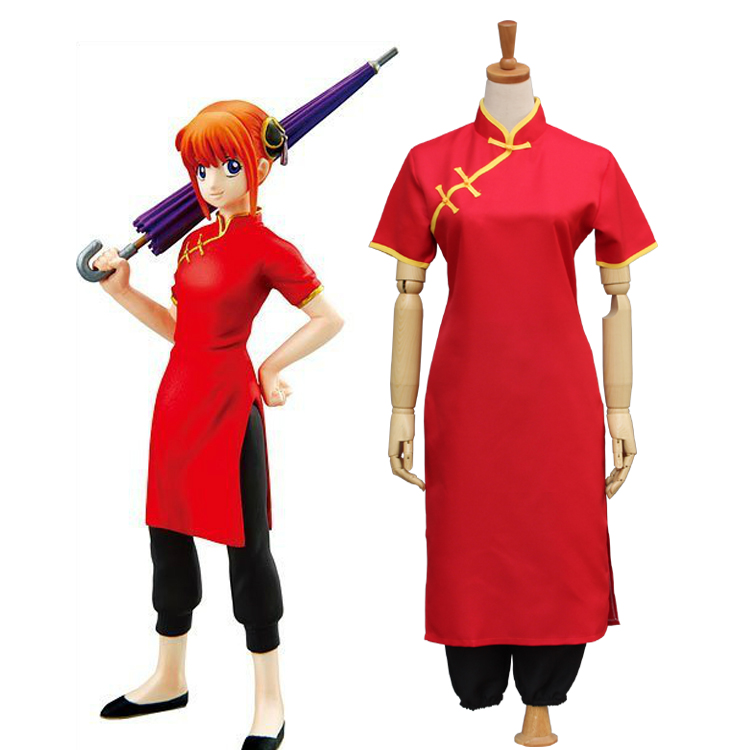 Gintama Silver Soul Kagura Cosplay Costume Women Short Sleeves Cheongsam the Chinese Dress Pants Kimono Uniform Suit