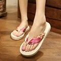 Verano de Bohemia Cuñas Flip-Flop de Las Mujeres Sandalias de Playa de Moda Zapatillas de Plataforma Zapatos de Las Señoras Ocasionales Más El Tamaño
