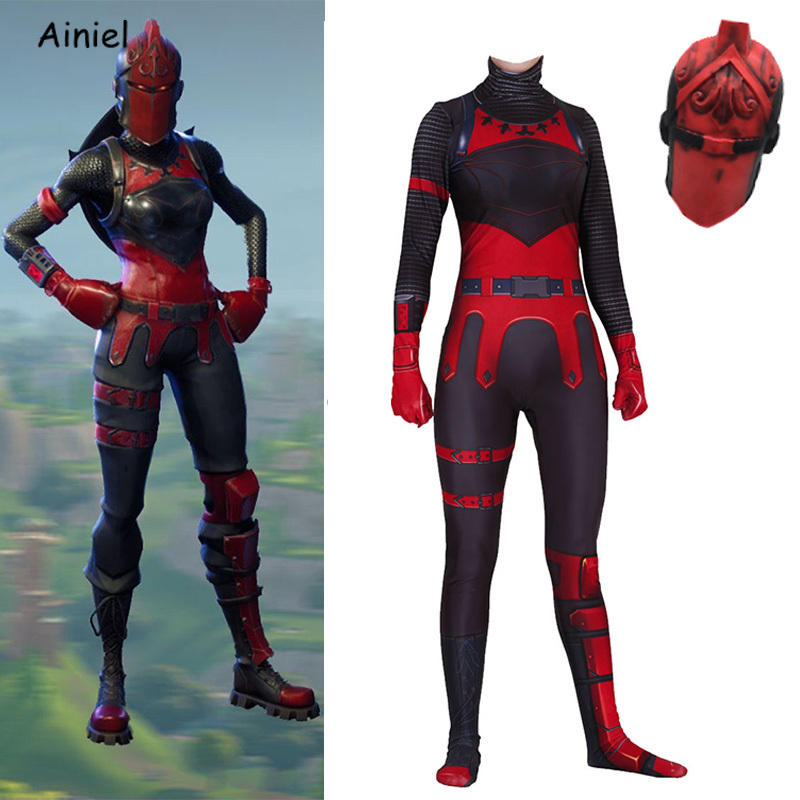 Kids Adult Game Fortnight Cosplay Costume Mask Red Knight Zentai Jumpsuits Halloween Christmas Costume Latex Mask for Women Kids