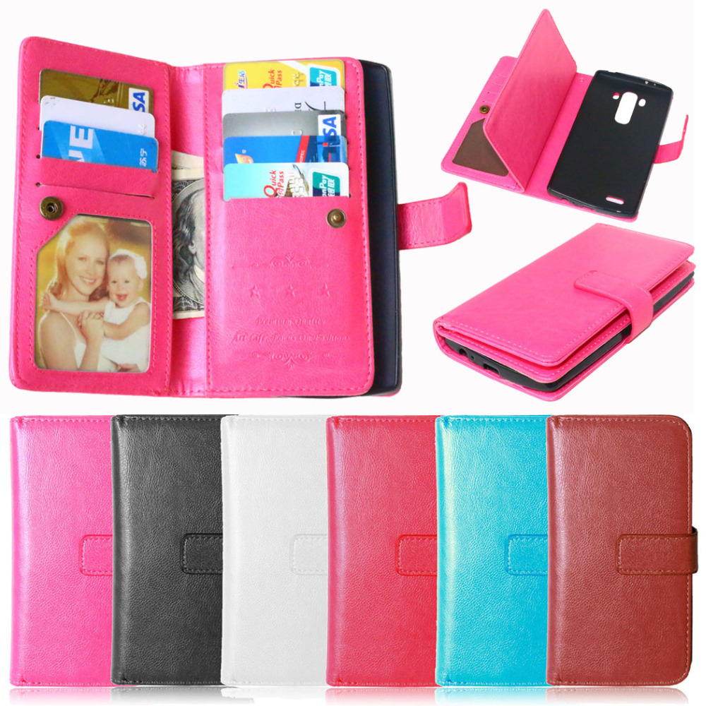 For LG G4 Wallet Case Phone Purse Bag Cover for LG G4 H810 VS999 F500 Flip Leather Phone Cases With 9 Card Slots + Photo Frame