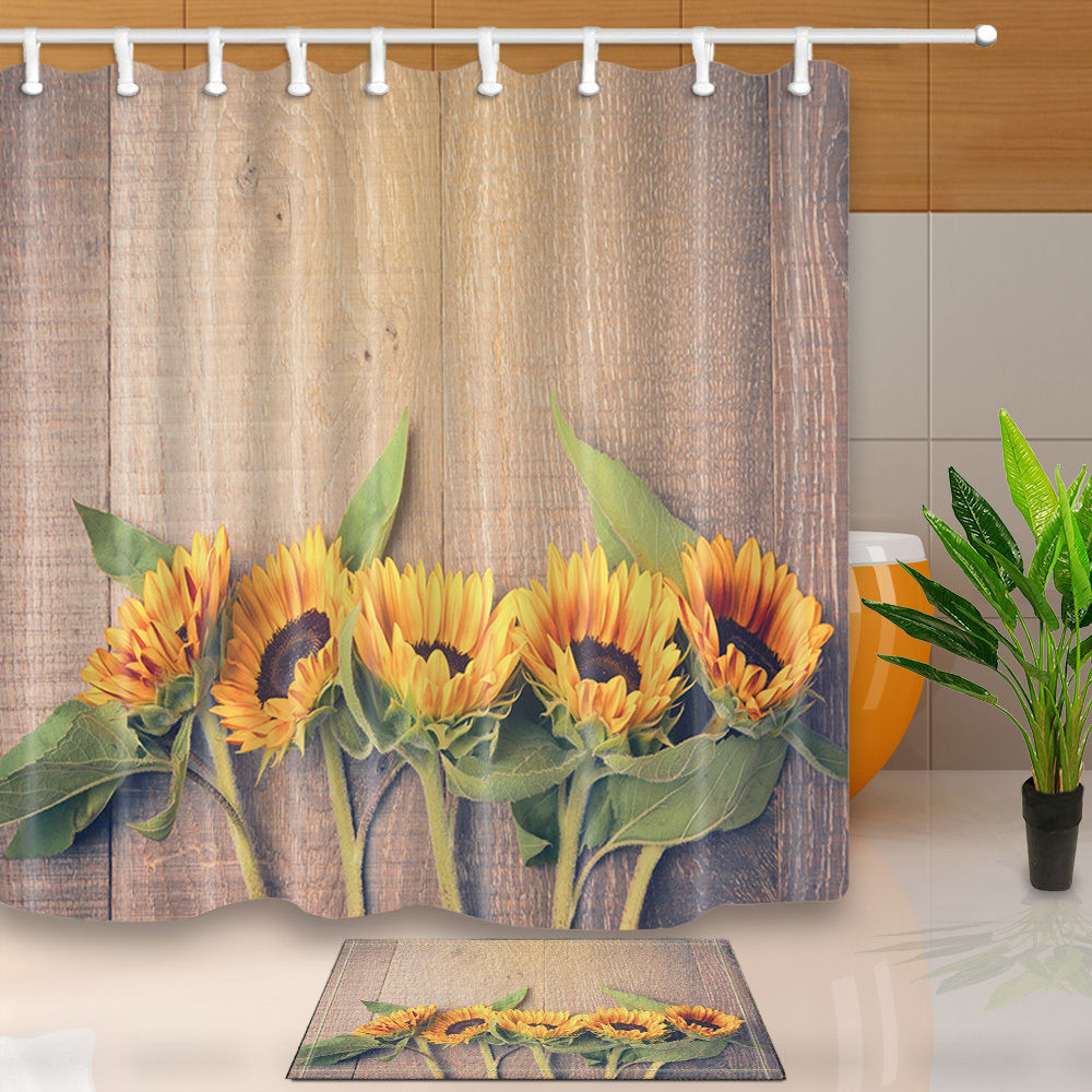 Sunflower shower curtain hooks - Warm Tour Sunflowers On Wooden Board Polyester Fabric Bathroom Shower Curtain Set With Hooks China