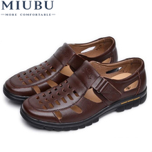 MIUBU Casual Summer Male Leather Sandals Hole Cutout Shoes Man  Cool