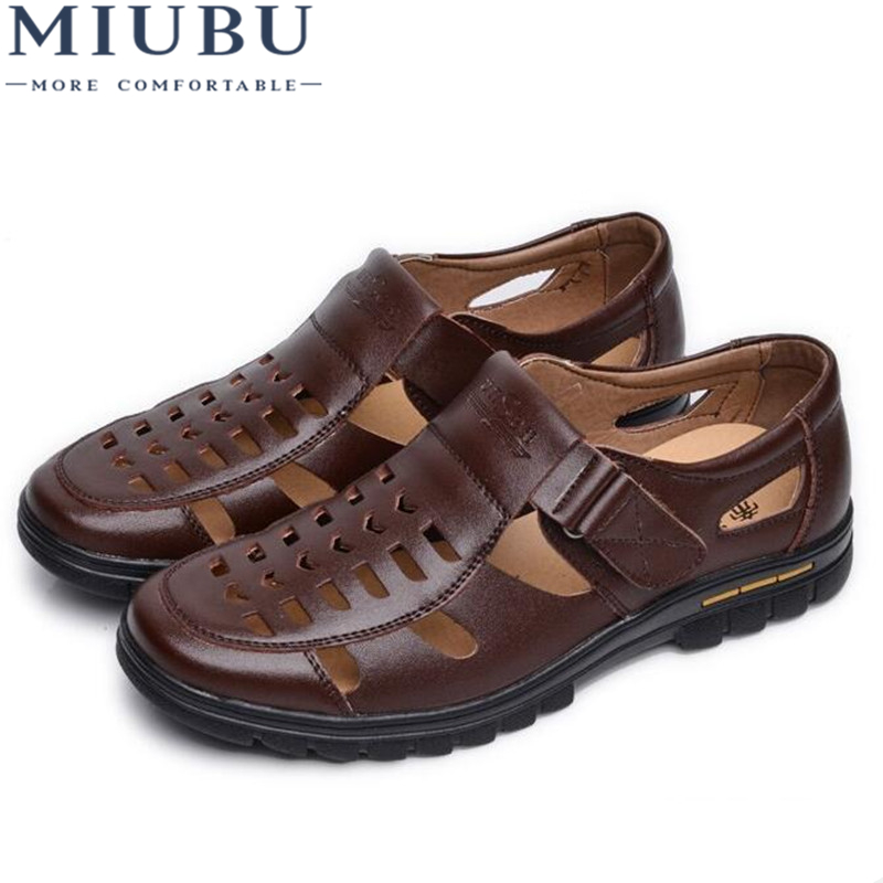 MIUBU Casual Summer Male Leather Sandals Hole Cutout Shoes Man Leather Sandals Cool Leather Shoes