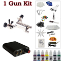 Beginner 1 silver Dragonfly  Rotary Tattoo Machine Gun Kit Power Supply Foot Pedal Needles Grip Tip Ink free shipping