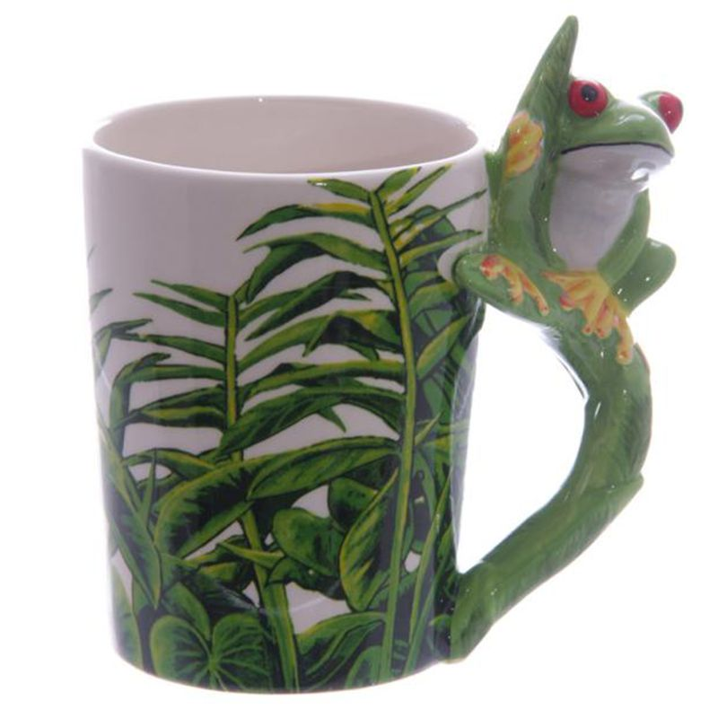 Hand-painte Cute Frog Ceramic Handle Water Cups Milk Coffee Cups Travel Souvenirs Mugs Creative Home Office Drinkware Gift