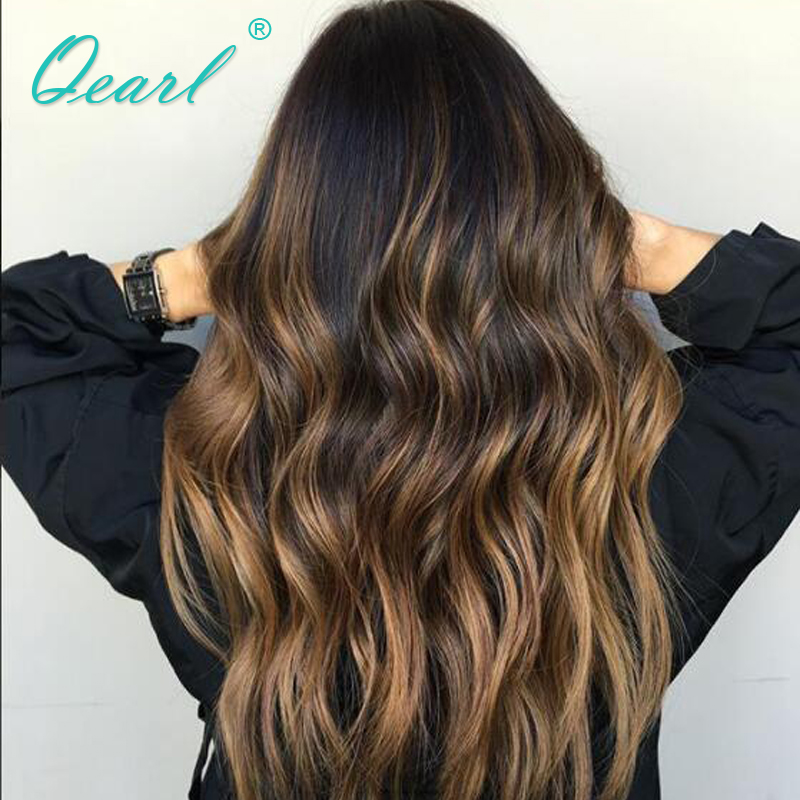 1B/30/27# Highlights Glueless Full Lace Human Hair Wigs Color 150% Baby Hair Front With Pre Plucked Hairline Full lace Wigs