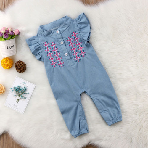 New Infant Baby Girls Newborn Short Sleeve Embroidered   Rompers   Playsuit Summer Baby Clothing
