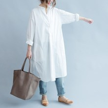 Fashion 2019 Autumn V-Neck Casual Shirt Loose Split Long Blouse Elegant Oversize Office
