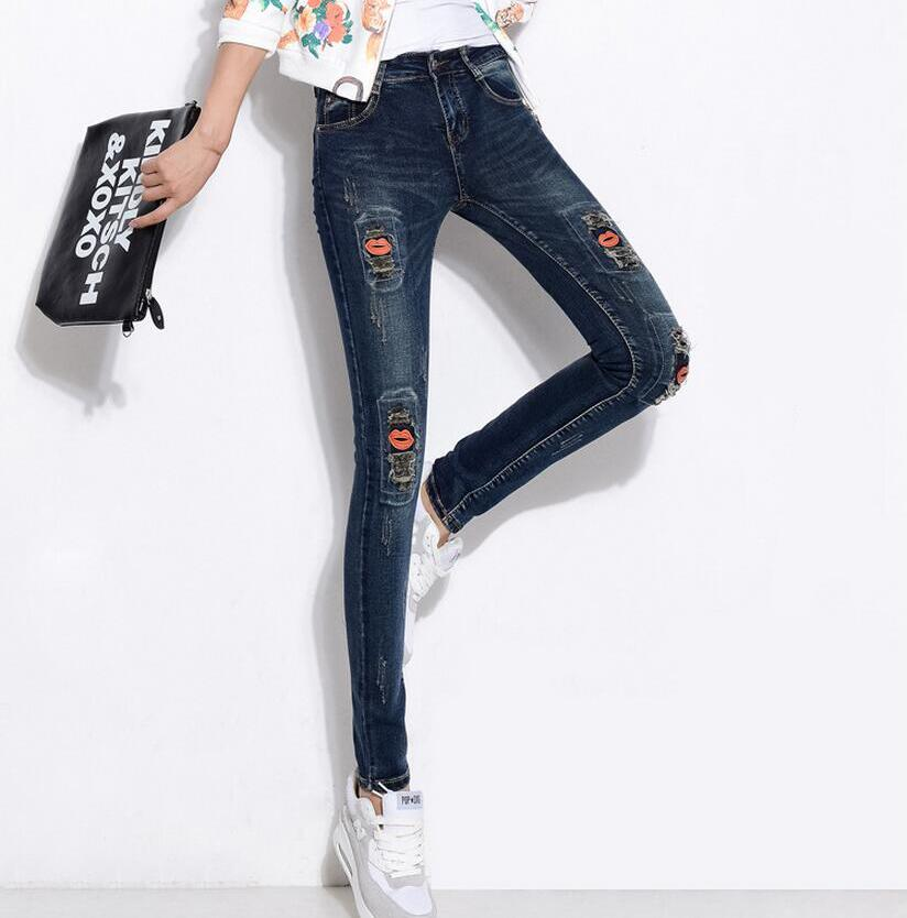 Women Denim Skinny Ripped Patch Pencil Pants High Waist Sexy Embroidery Elastic Jeans Autumn New Slim