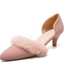 ส้นเท้าบาง6เซนติเมตรc haussure f emmeผู้หญิงรองเท้าส้นสูงแหลมนิ้วเท้าขนฤดูร้อนปั๊มฝูงหนังผู้หญิงรองเท้าลำลอง