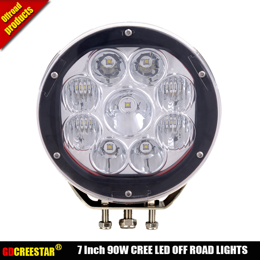 7inch Round 90W LED Work Light 12v 24v IP67 Black Red Offroad LED Drive light LED Fog Light used for SUV ATV CAR Truck Car x1pc lyc 6000k led daylight for citroen c4 for nissan led headlights 12v car led lights ip 68 chips offroad work light 40w