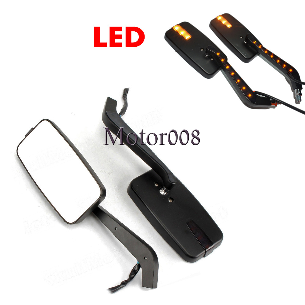 Motorcycle Amber LED Turn Signal Intergrated Rearview Racing Mirrors for Harley Chopper Honda Yamaha Suzuki Kawasaki KTM
