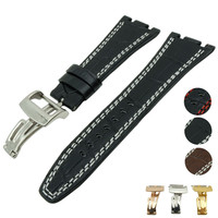 For Audemars 28 mm Black white Line Leather Strap+Clasp for fit for AP Watch