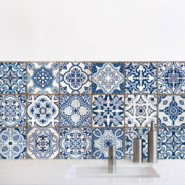 Toilet Kitchen Decoration Simulation Blue And White Ceramic Diy Sticker Modern Home Decor Accessories Wall Art