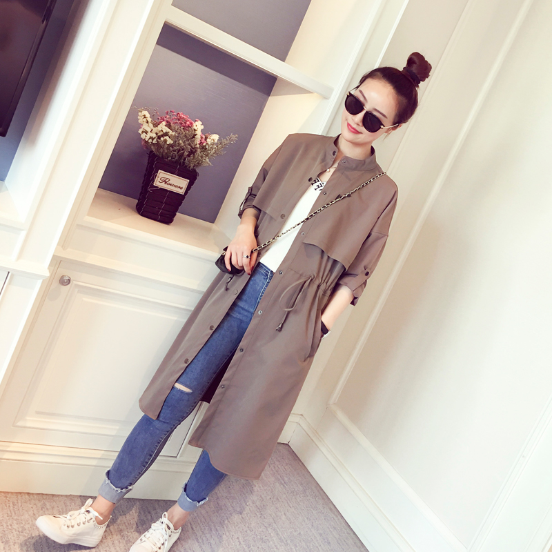 2018 new spring loose Korean drawstring waist thin jacket slim slim knee long coat female tide